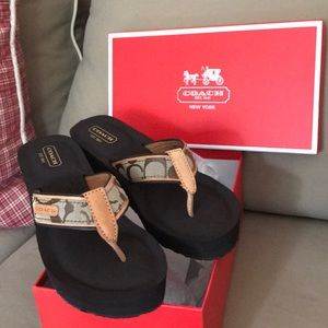 Coach khaki flip flops with wedge size 6.5 M